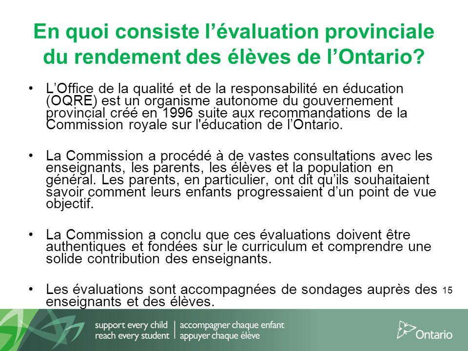 15 En quoi consiste l'évaluation provinciale du rendement des élèves de l'Ontario? L'Office de la qualité et de la responsabilité en éducation (OQRE)