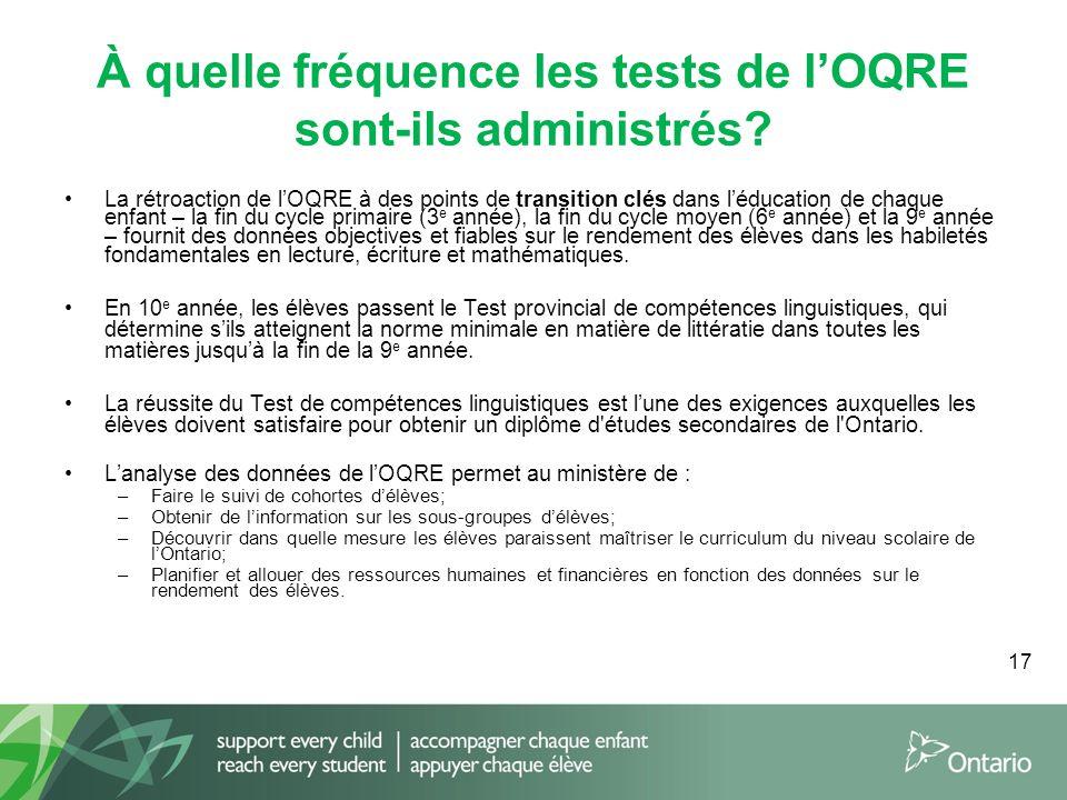 17 À quelle fréquence les tests de l'OQRE sont-ils administrés? La rétroaction de l'OQRE à des points de transition clés dans l'éducation de chaque en