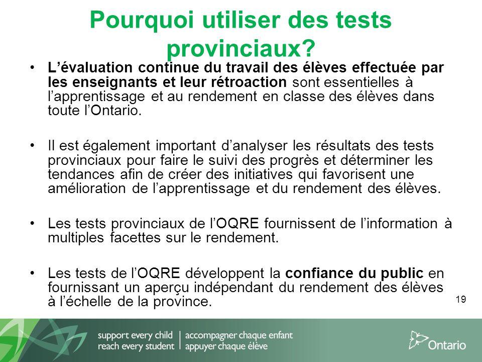 19 Pourquoi utiliser des tests provinciaux? L'évaluation continue du travail des élèves effectuée par les enseignants et leur rétroaction sont essenti