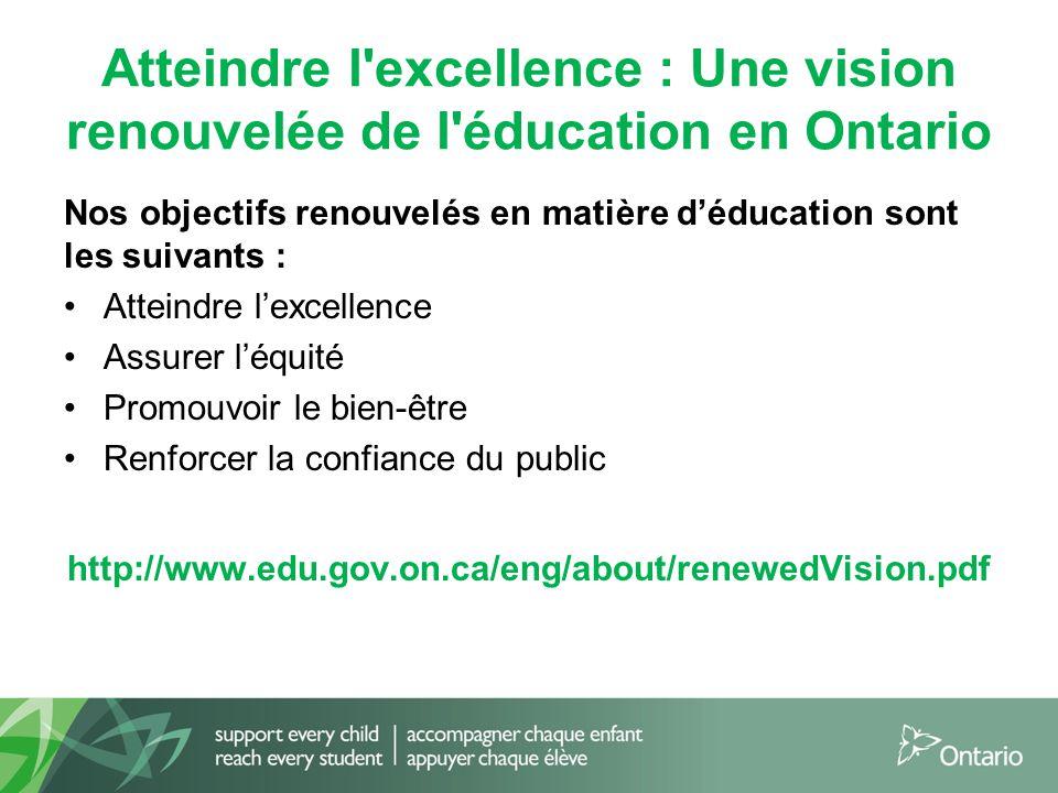 Atteindre l excellence : Une vision renouvelée de l éducation en Ontario Nos objectifs renouvelés en matière d'éducation sont les suivants : Atteindre l'excellence Assurer l'équité Promouvoir le bien-être Renforcer la confiance du public http://www.edu.gov.on.ca/eng/about/renewedVision.pdf