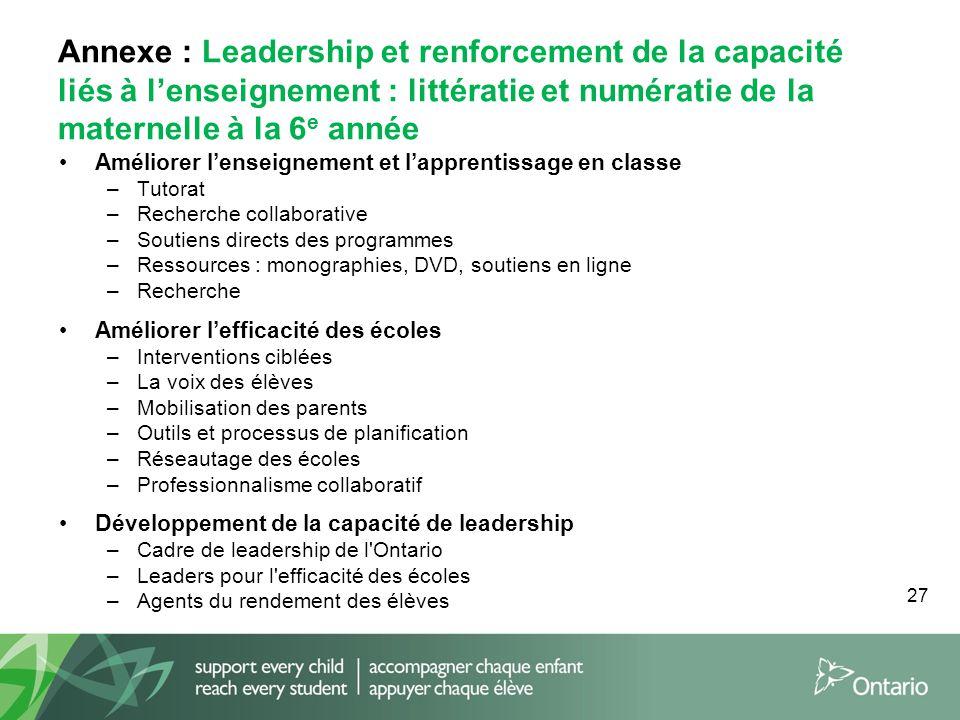 27 Annexe : Leadership et renforcement de la capacité liés à l'enseignement : littératie et numératie de la maternelle à la 6 e année Améliorer l'ense