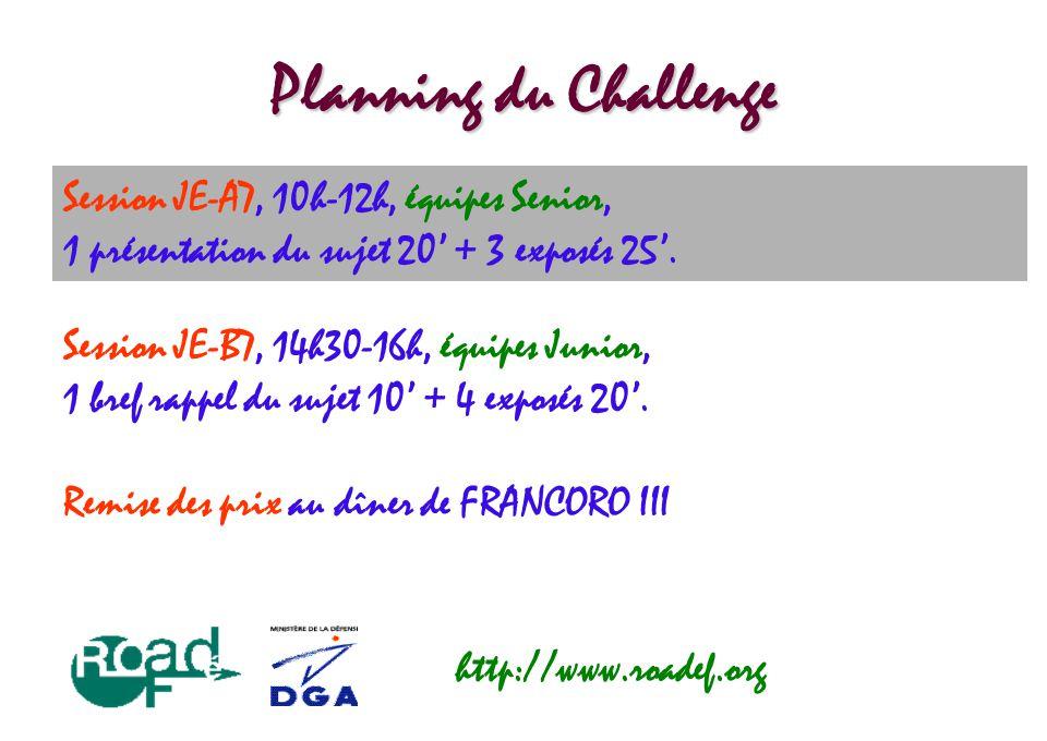 Planning du Challenge Session JE-A7, 10h-12h, équipes Senior, 1 présentation du sujet 20' + 3 exposés 25'. http://www.roadef.org Session JE-B7, 14h30-
