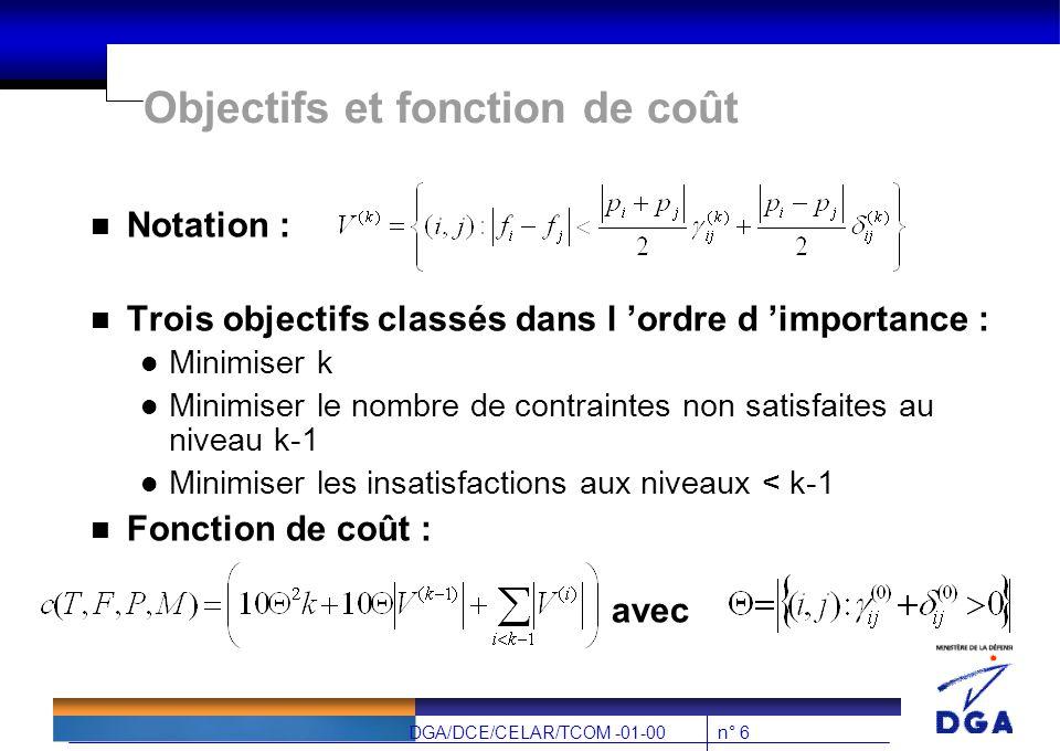 n° 6DGA/DCE/CELAR/TCOM -01-00 Objectifs et fonction de coût n Notation : n Trois objectifs classés dans l 'ordre d 'importance : l Minimiser k l Minimiser le nombre de contraintes non satisfaites au niveau k-1 l Minimiser les insatisfactions aux niveaux < k-1 n Fonction de coût : avec