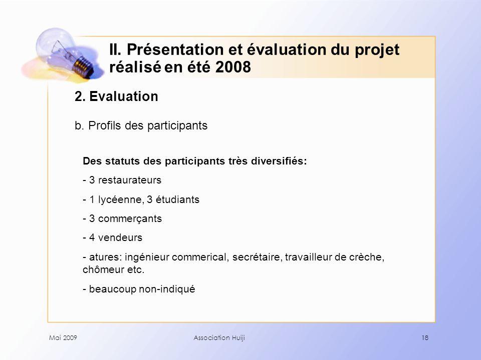 Mai 2009Association Huiji18 2. Evaluation b. Profils des participants II.