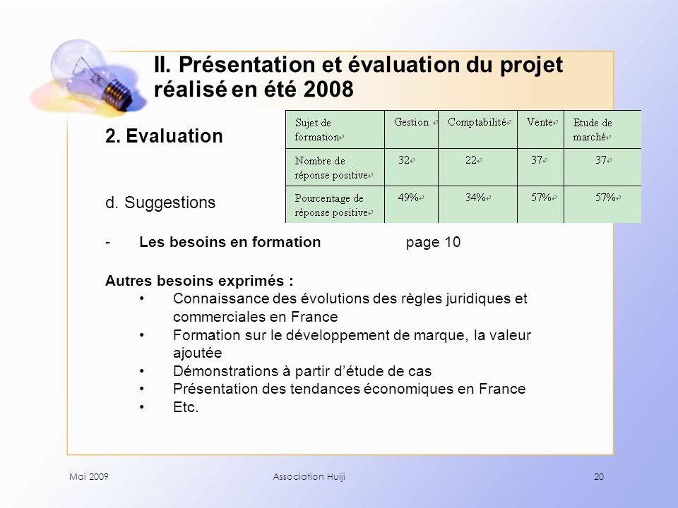 Mai 2009Association Huiji20 2. Evaluation d.