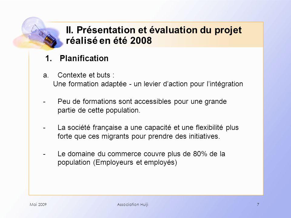 Mai 2009Association Huiji18 2.Evaluation b. Profils des participants II.