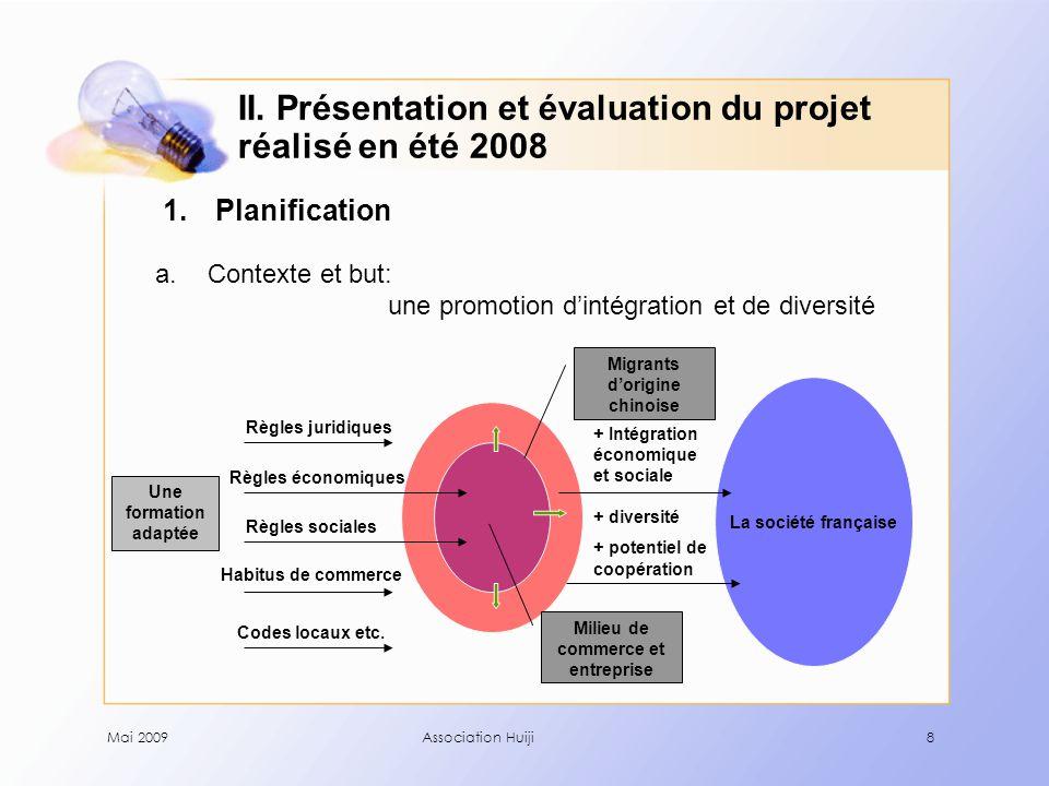 Mai 2009Association Huiji19 2.Evaluation c. Satisfaction - Le questionnaire d'évaluation: 1.
