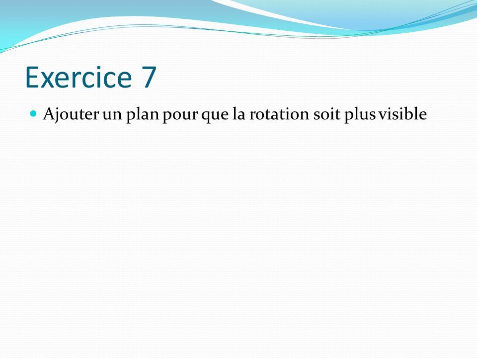 Exercice 7 Ajouter un plan pour que la rotation soit plus visible