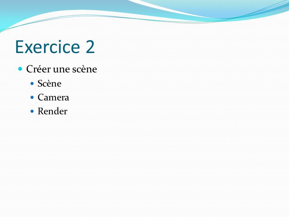 Exercice 2 Créer une scène Scène Camera Render