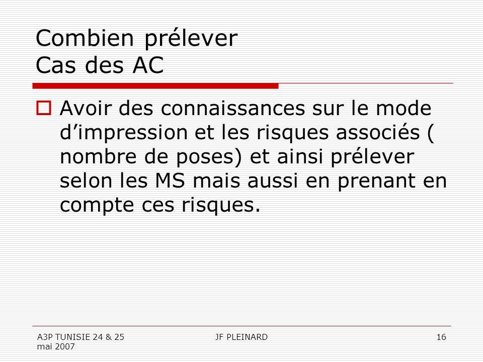 A3P TUNISIE 24 & 25 mai 2007 JF PLEINARD16 Combien prélever Cas des AC  Avoir des connaissances sur le mode d'impression et les risques associés ( nombre de poses) et ainsi prélever selon les MS mais aussi en prenant en compte ces risques.