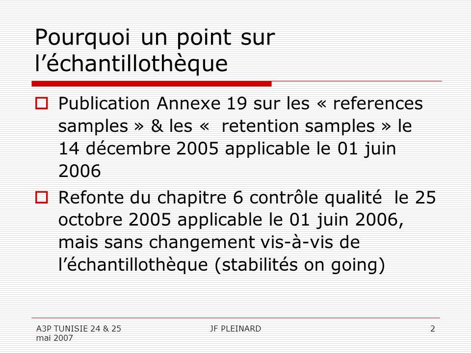 A3P TUNISIE 24 & 25 mai 2007 JF PLEINARD2 Pourquoi un point sur l'échantillothèque  Publication Annexe 19 sur les « references samples » & les « rete