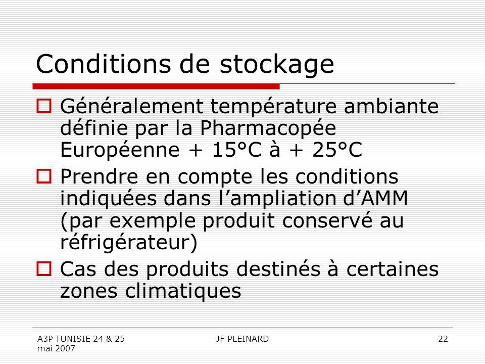 A3P TUNISIE 24 & 25 mai 2007 JF PLEINARD22 Conditions de stockage  Généralement température ambiante définie par la Pharmacopée Européenne + 15°C à +