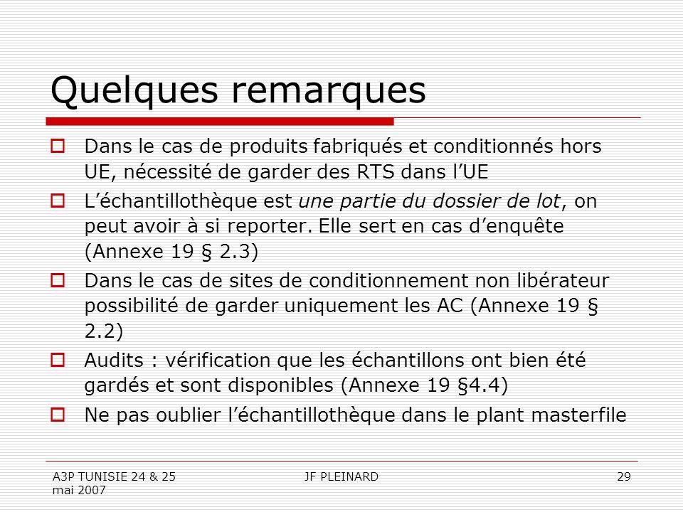 A3P TUNISIE 24 & 25 mai 2007 JF PLEINARD29 Quelques remarques  Dans le cas de produits fabriqués et conditionnés hors UE, nécessité de garder des RTS dans l'UE  L'échantillothèque est une partie du dossier de lot, on peut avoir à si reporter.