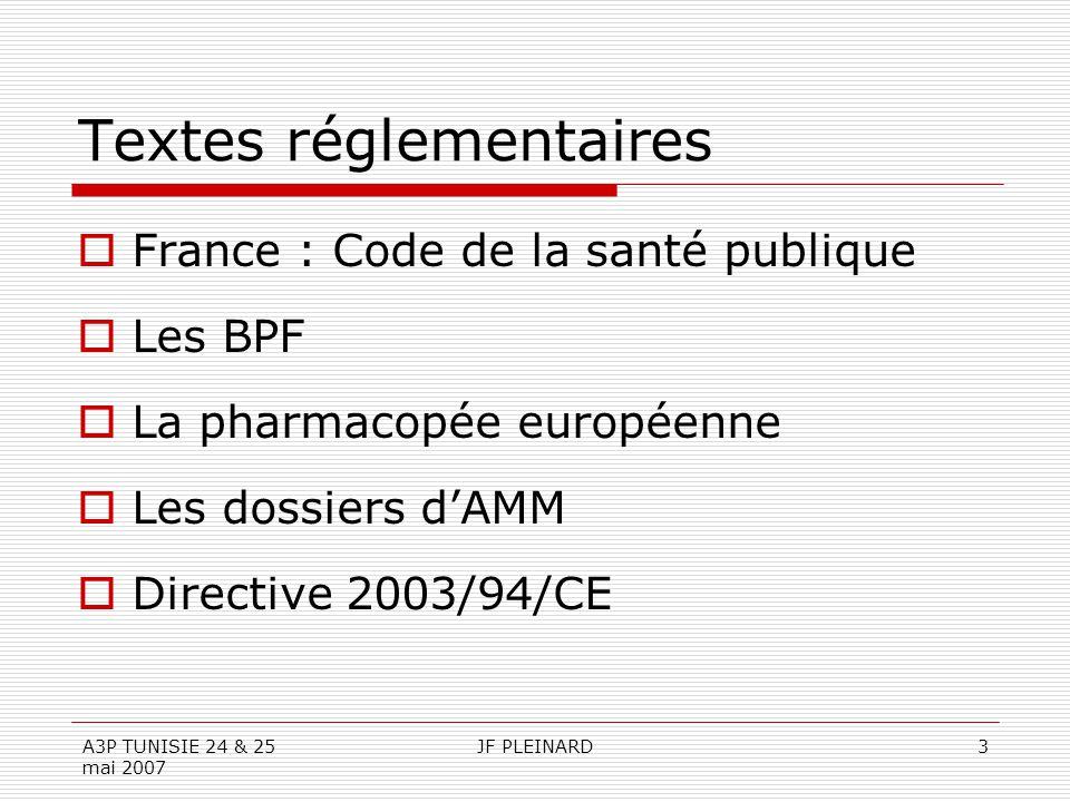 A3P TUNISIE 24 & 25 mai 2007 JF PLEINARD3 Textes réglementaires  France : Code de la santé publique  Les BPF  La pharmacopée européenne  Les dossi