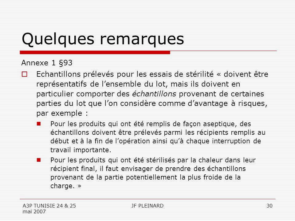 A3P TUNISIE 24 & 25 mai 2007 JF PLEINARD30 Quelques remarques Annexe 1 §93  Echantillons prélevés pour les essais de stérilité « doivent être représe