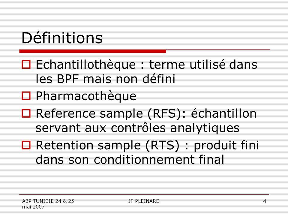 A3P TUNISIE 24 & 25 mai 2007 JF PLEINARD4 Définitions  Echantillothèque : terme utilisé dans les BPF mais non défini  Pharmacothèque  Reference sample (RFS): échantillon servant aux contrôles analytiques  Retention sample (RTS) : produit fini dans son conditionnement final