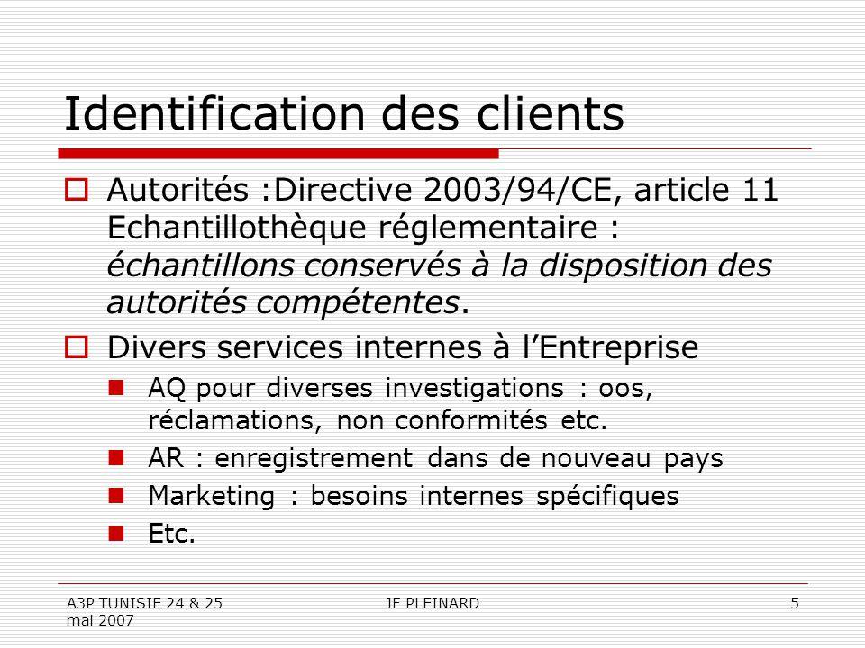 A3P TUNISIE 24 & 25 mai 2007 JF PLEINARD5 Identification des clients  Autorités :Directive 2003/94/CE, article 11 Echantillothèque réglementaire : échantillons conservés à la disposition des autorités compétentes.
