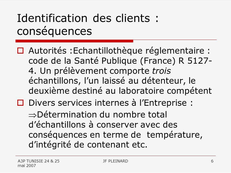 A3P TUNISIE 24 & 25 mai 2007 JF PLEINARD6 Identification des clients : conséquences  Autorités :Echantillothèque réglementaire : code de la Santé Publique (France) R 5127- 4.