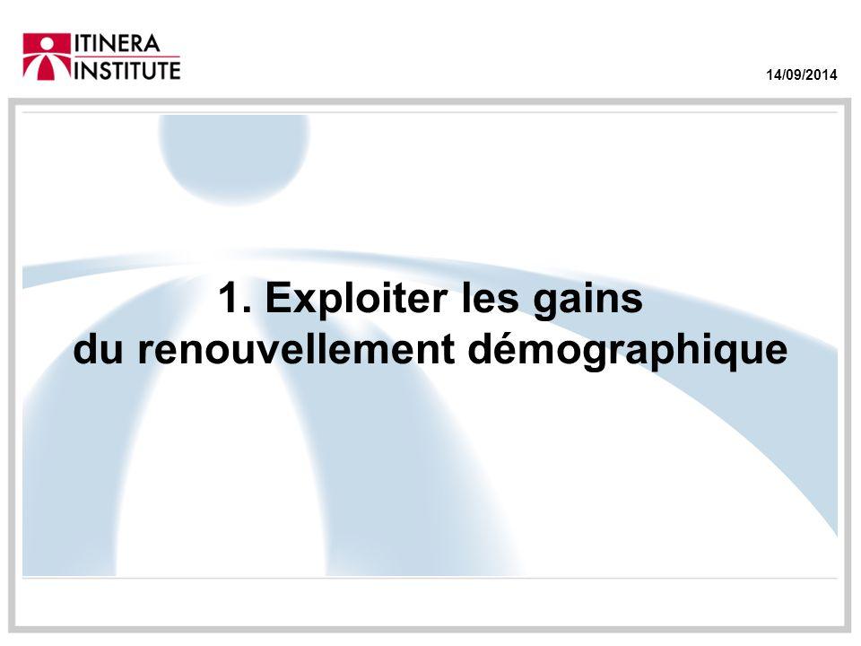 14/09/2014 1. Exploiter les gains du renouvellement démographique