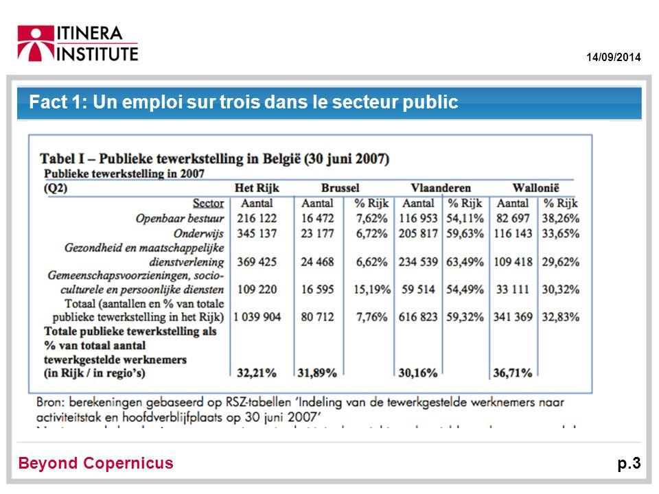 14/09/2014 Beyond Copernicus p.3 Fact 1: Un emploi sur trois dans le secteur public