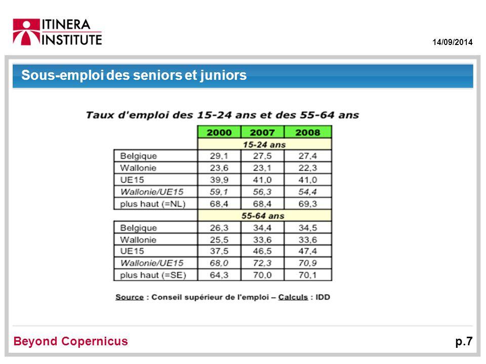 14/09/2014 Beyond Copernicus p.7 Sous-emploi des seniors et juniors