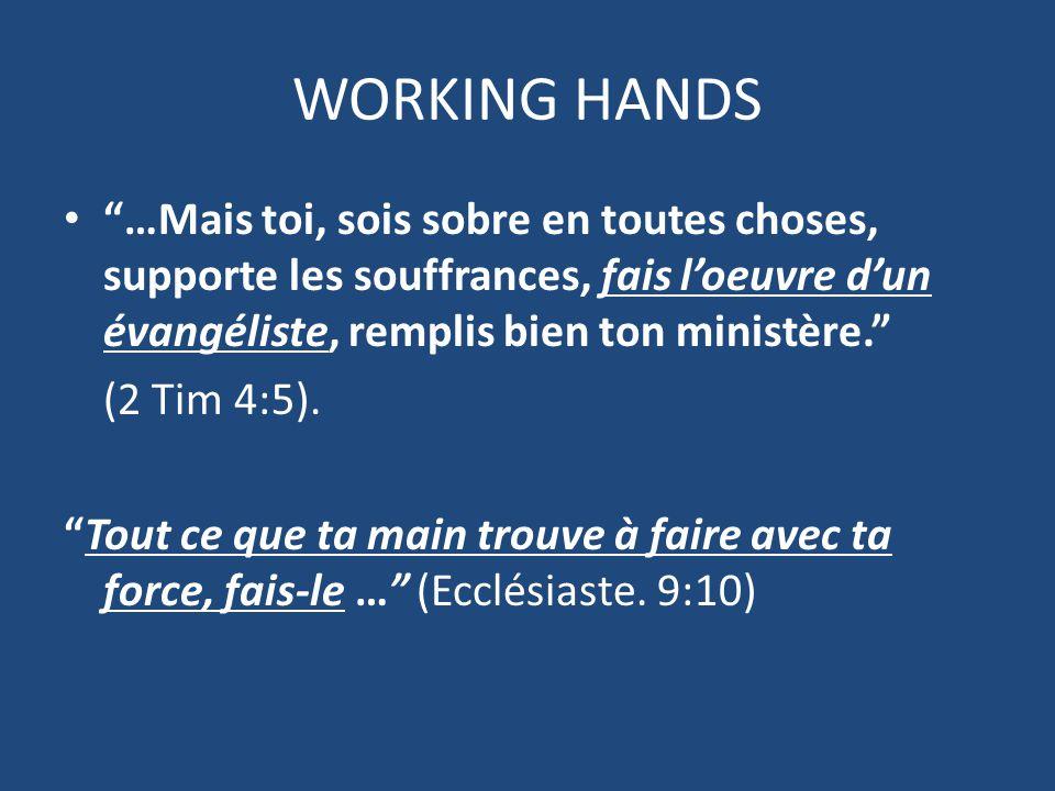 …Mais toi, sois sobre en toutes choses, supporte les souffrances, fais l'oeuvre d'un évangéliste, remplis bien ton ministère. (2 Tim 4:5).