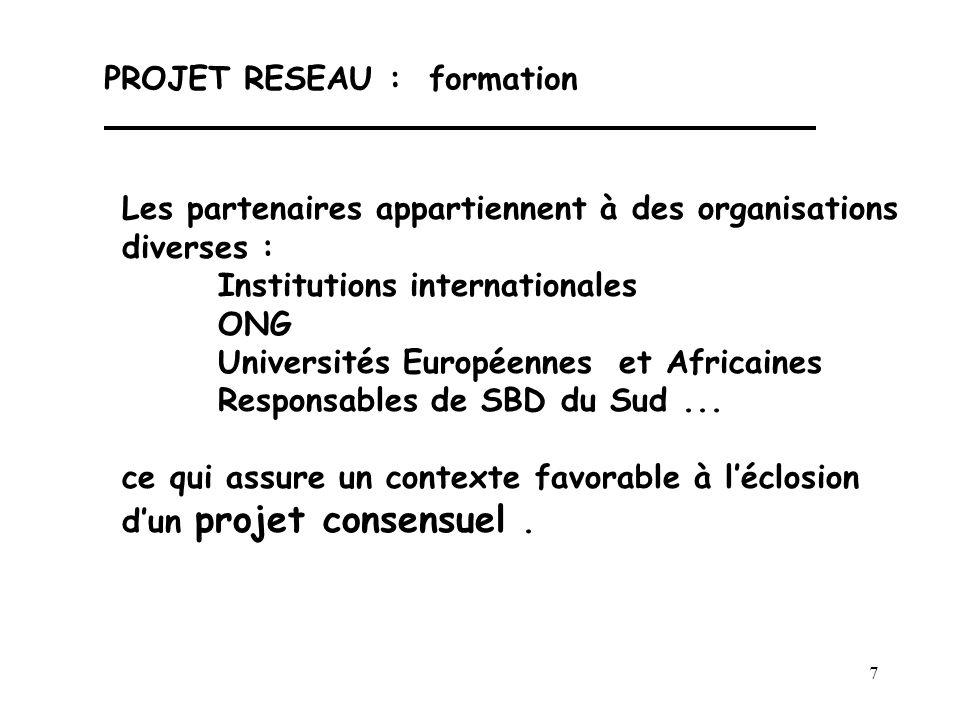 7 PROJET RESEAU : formation Les partenaires appartiennent à des organisations diverses : Institutions internationales ONG Universités Européennes et A