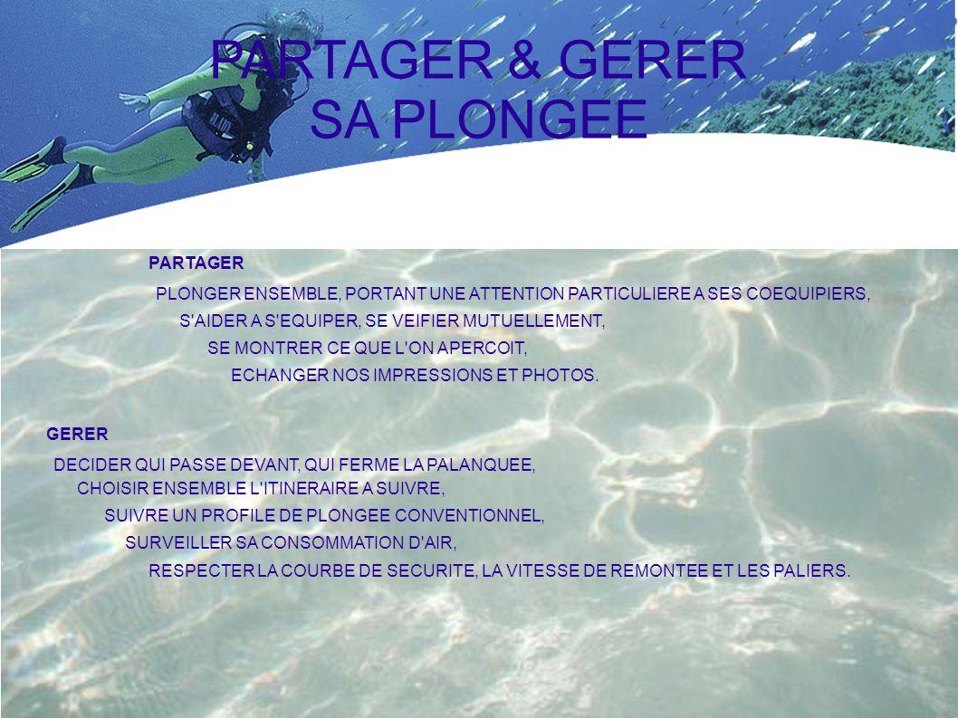 PARTAGER & GERER SA PLONGEE PARTAGER GERER PLONGER ENSEMBLE, PORTANT UNE ATTENTION PARTICULIERE A SES COEQUIPIERS, S AIDER A S EQUIPER, SE VEIFIER MUTUELLEMENT, SE MONTRER CE QUE L ON APERCOIT, ECHANGER NOS IMPRESSIONS ET PHOTOS.