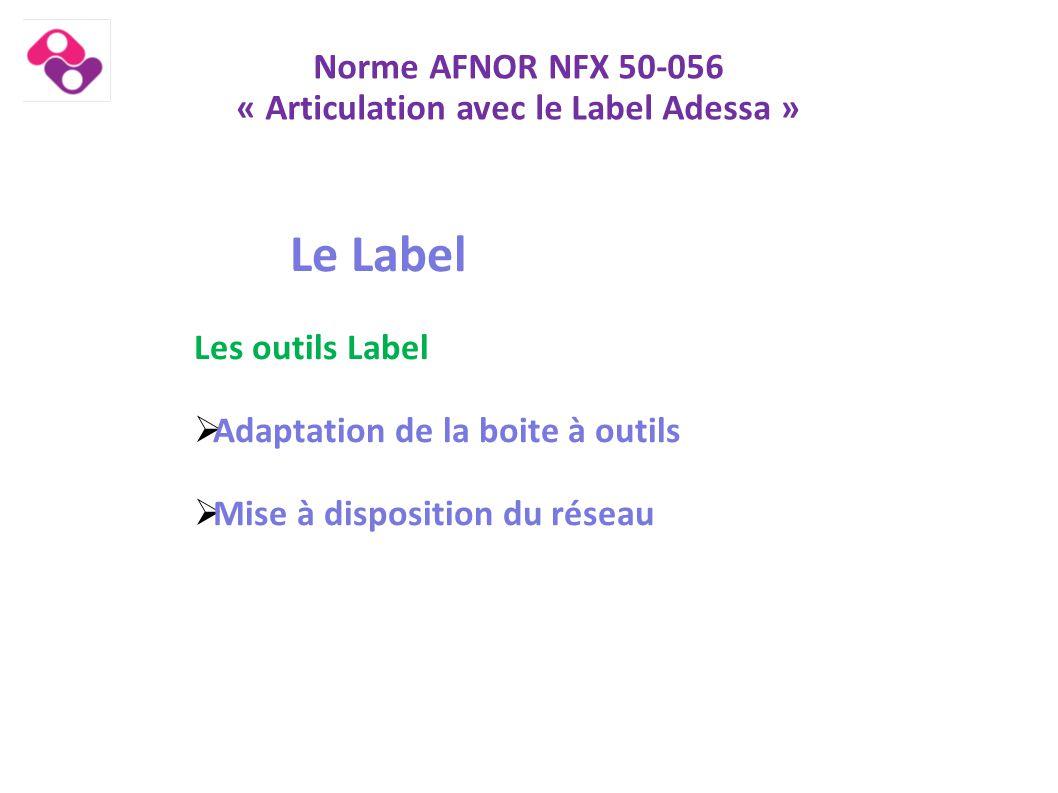 Norme AFNOR NFX 50-056 « Articulation avec le Label Adessa » Le Label Les outils Label  Adaptation de la boite à outils  Mise à disposition du résea