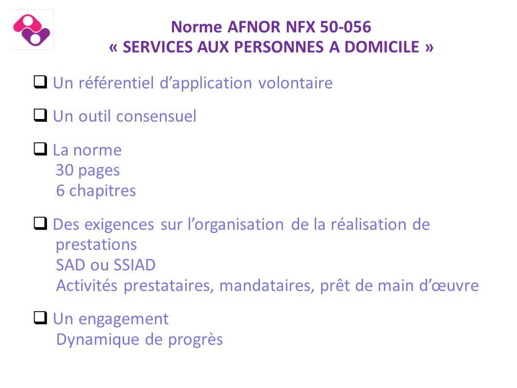  Un référentiel d'application volontaire  Un outil consensuel  La norme 30 pages 6 chapitres  Des exigences sur l'organisation de la réalisation d