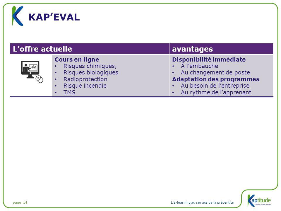 page 14L'e-learning au service de la prévention KAP'EVAL L'offre actuelleavantages Cours en ligne Risques chimiques, Risques biologiques Radioprotecti