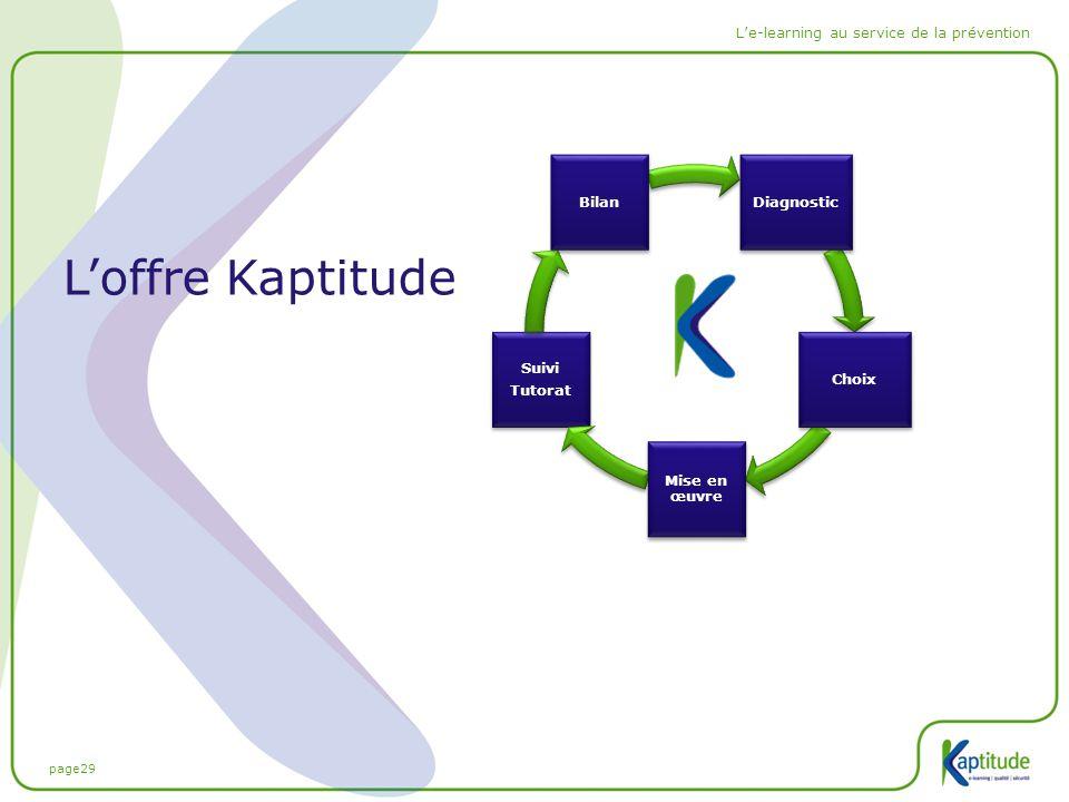 page29 L'e-learning au service de la prévention L'offre Kaptitude Suivi Tutorat Suivi Tutorat Diagnostic Choix Mise en œuvre Bilan