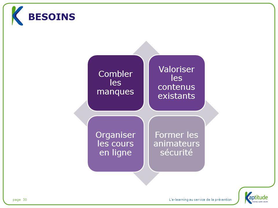 page 30L'e-learning au service de la prévention BESOINS Combler les manques Valoriser les contenus existants Organiser les cours en ligne Former les a