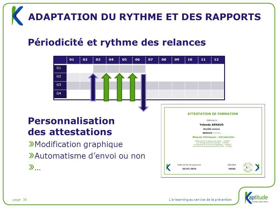 page 36L'e-learning au service de la prévention ADAPTATION DU RYTHME ET DES RAPPORTS Périodicité et rythme des relances Personnalisation des attestati