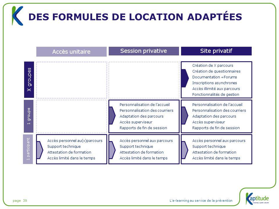 page 39L'e-learning au service de la prévention DES FORMULES DE LOCATION ADAPTÉES Site privatifSession privative Accès unitaire Accès personnel au(x)p