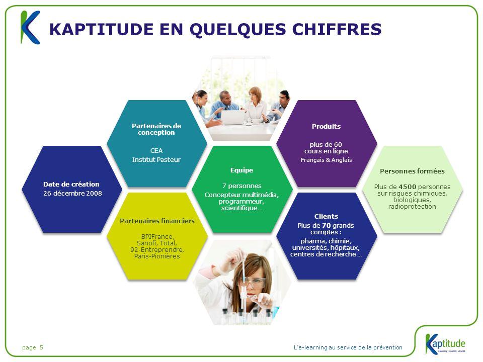 page 5L'e-learning au service de la prévention KAPTITUDE EN QUELQUES CHIFFRES Produits plus de 60 cours en ligne Français & Anglais Produits plus de 6