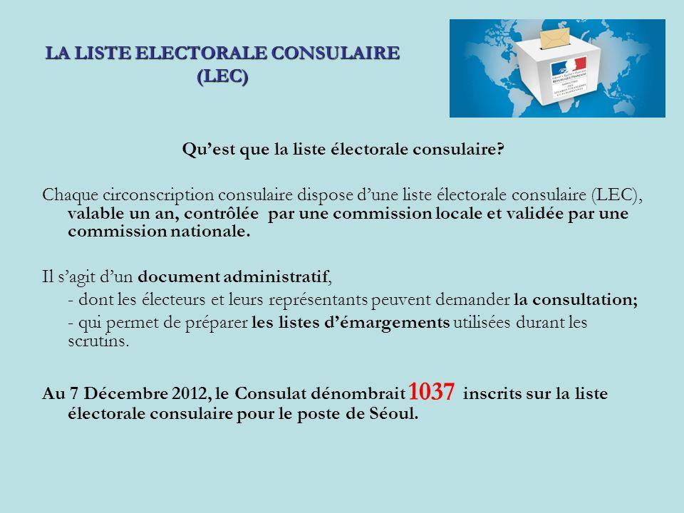Qu'est que la liste électorale consulaire? Chaque circonscription consulaire dispose d'une liste électorale consulaire (LEC), valable un an, contrôlée