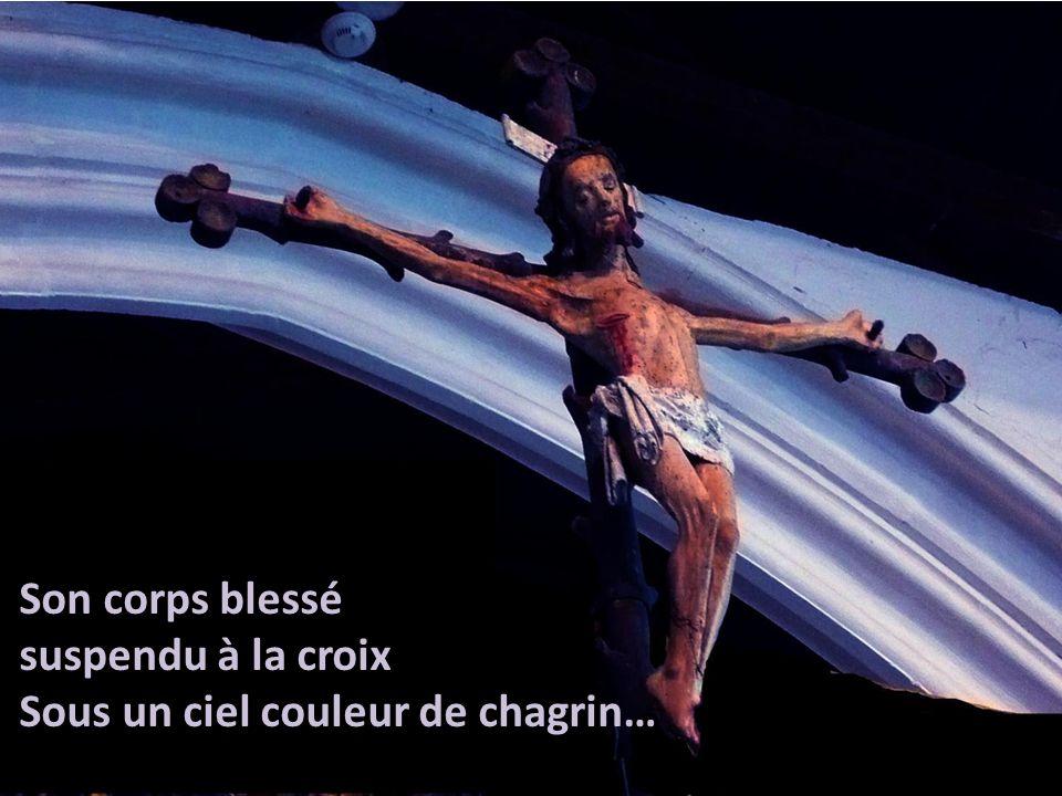 Son corps blessé suspendu à la croix Sous un ciel couleur de chagrin…