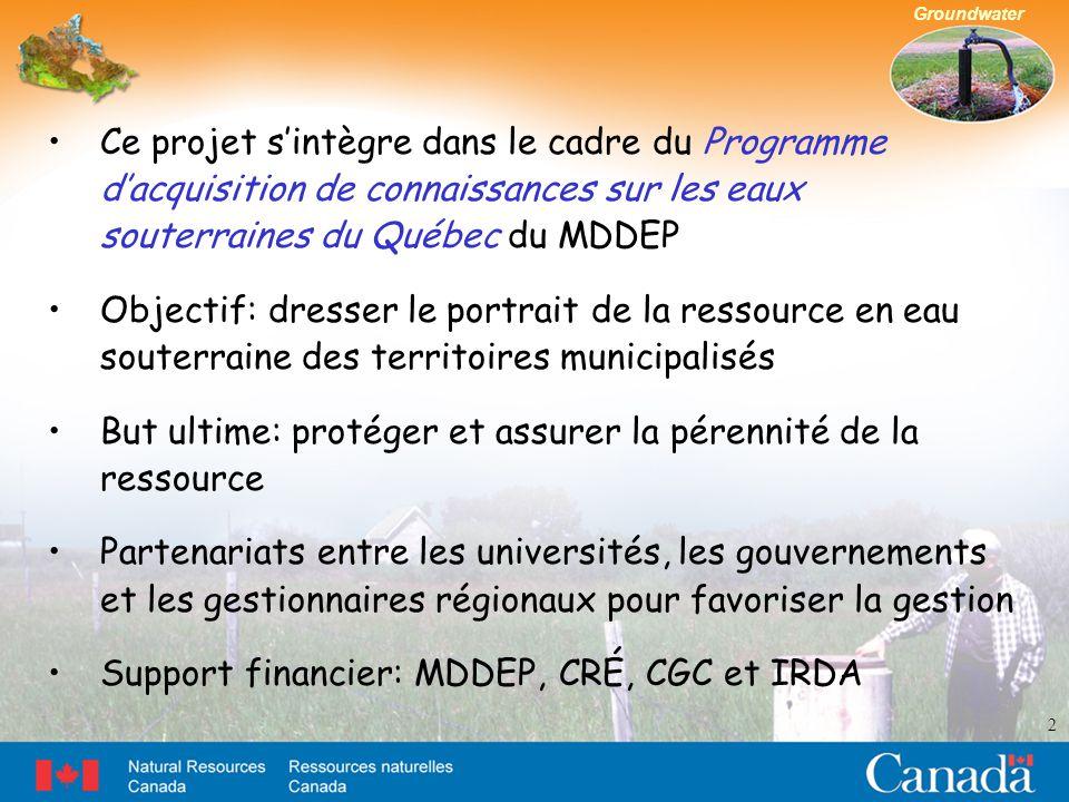 Groundwater 2 Ce projet s'intègre dans le cadre du Programme d'acquisition de connaissances sur les eaux souterraines du Québec du MDDEP Objectif: dresser le portrait de la ressource en eau souterraine des territoires municipalisés But ultime: protéger et assurer la pérennité de la ressource Partenariats entre les universités, les gouvernements et les gestionnaires régionaux pour favoriser la gestion Support financier: MDDEP, CRÉ, CGC et IRDA