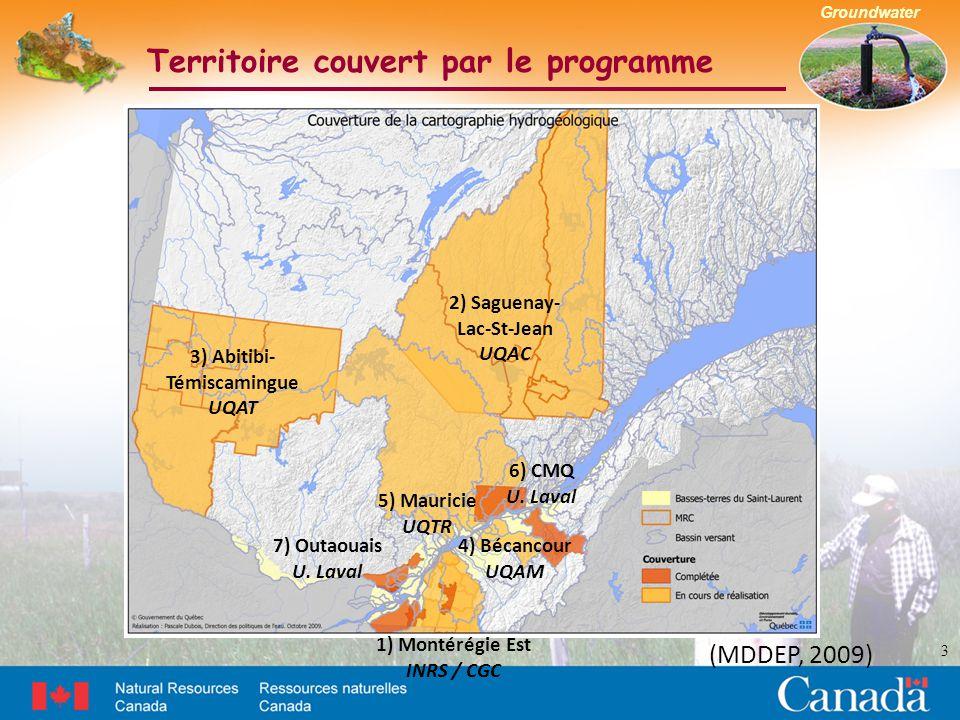 Groundwater Territoire couvert par le programme 3 (MDDEP, 2009) 2) Saguenay- Lac-St-Jean UQAC 3) Abitibi- Témiscamingue UQAT 1) Montérégie Est INRS / CGC 4) Bécancour UQAM 5) Mauricie UQTR 6) CMQ U.