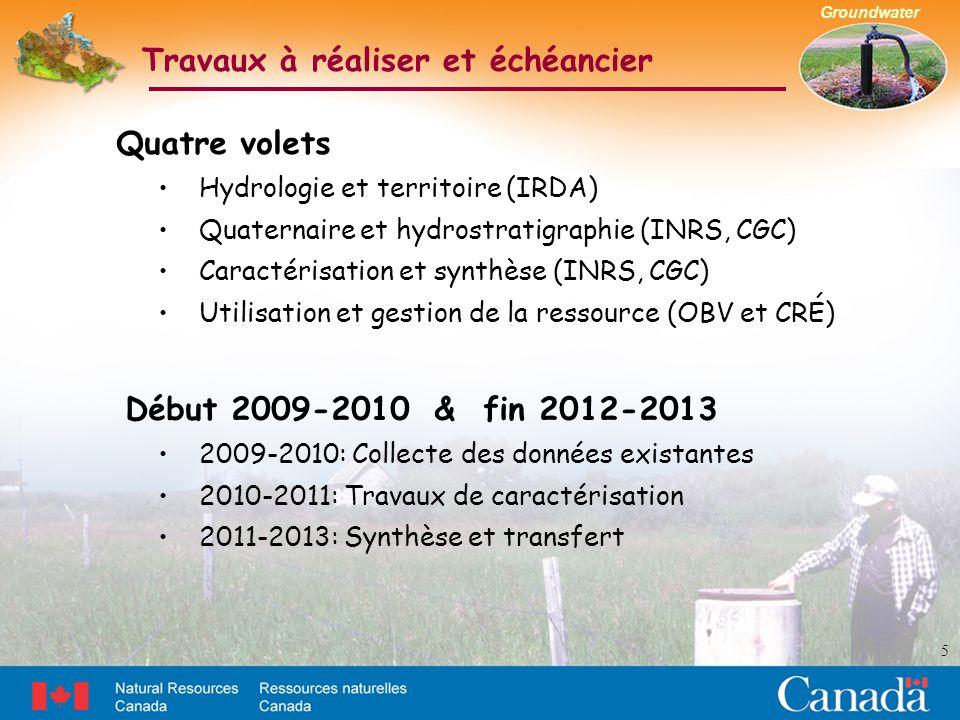 Groundwater Travaux à réaliser et échéancier 5 Quatre volets Hydrologie et territoire (IRDA) Quaternaire et hydrostratigraphie (INRS, CGC) Caractérisation et synthèse (INRS, CGC) Utilisation et gestion de la ressource (OBV et CRÉ) Début 2009-2010 & fin 2012-2013 2009-2010: Collecte des données existantes 2010-2011: Travaux de caractérisation 2011-2013: Synthèse et transfert