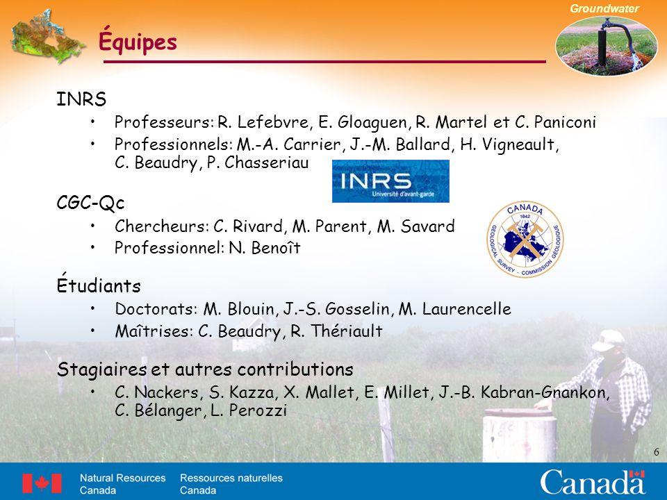 Groundwater INRS Professeurs: R. Lefebvre, E. Gloaguen, R. Martel et C. Paniconi Professionnels: M.-A. Carrier, J.-M. Ballard, H. Vigneault, C. Beaudr