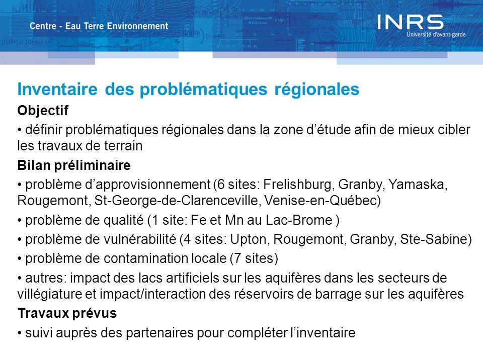 Inventaire des problématiques régionales Objectif définir problématiques régionales dans la zone d'étude afin de mieux cibler les travaux de terrain Bilan préliminaire problème d'approvisionnement (6 sites: Frelishburg, Granby, Yamaska, Rougemont, St-George-de-Clarenceville, Venise-en-Québec) problème de qualité (1 site: Fe et Mn au Lac-Brome ) problème de vulnérabilité (4 sites: Upton, Rougemont, Granby, Ste-Sabine) problème de contamination locale (7 sites) autres: impact des lacs artificiels sur les aquifères dans les secteurs de villégiature et impact/interaction des réservoirs de barrage sur les aquifères Travaux prévus suivi auprès des partenaires pour compléter l'inventaire