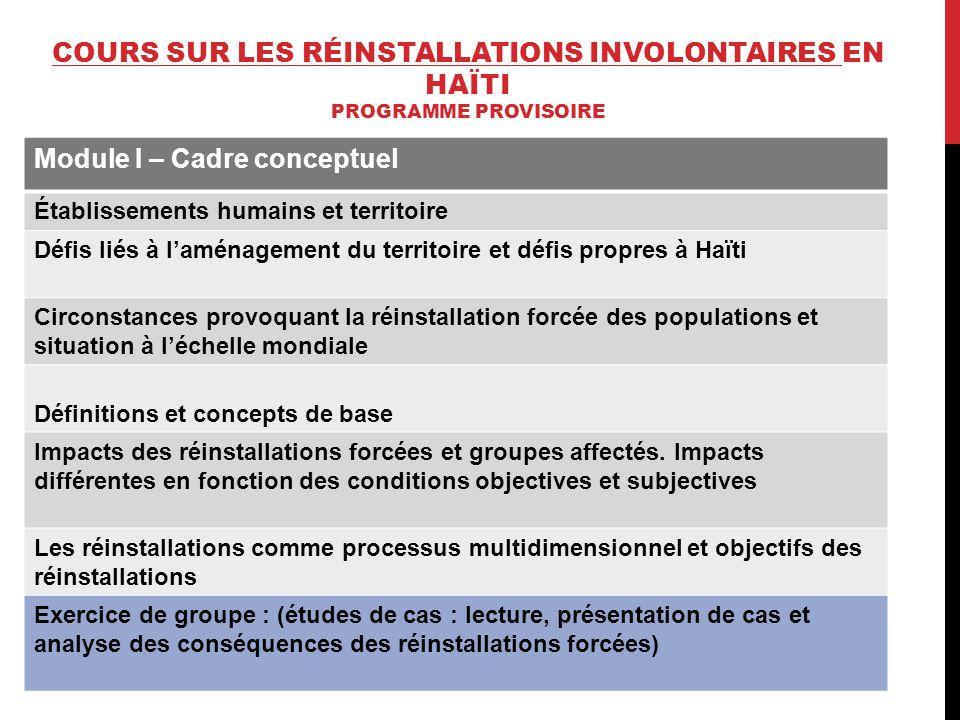 Module I – Cadre conceptuel Établissements humains et territoire Défis liés à l'aménagement du territoire et défis propres à Haïti Circonstances provo