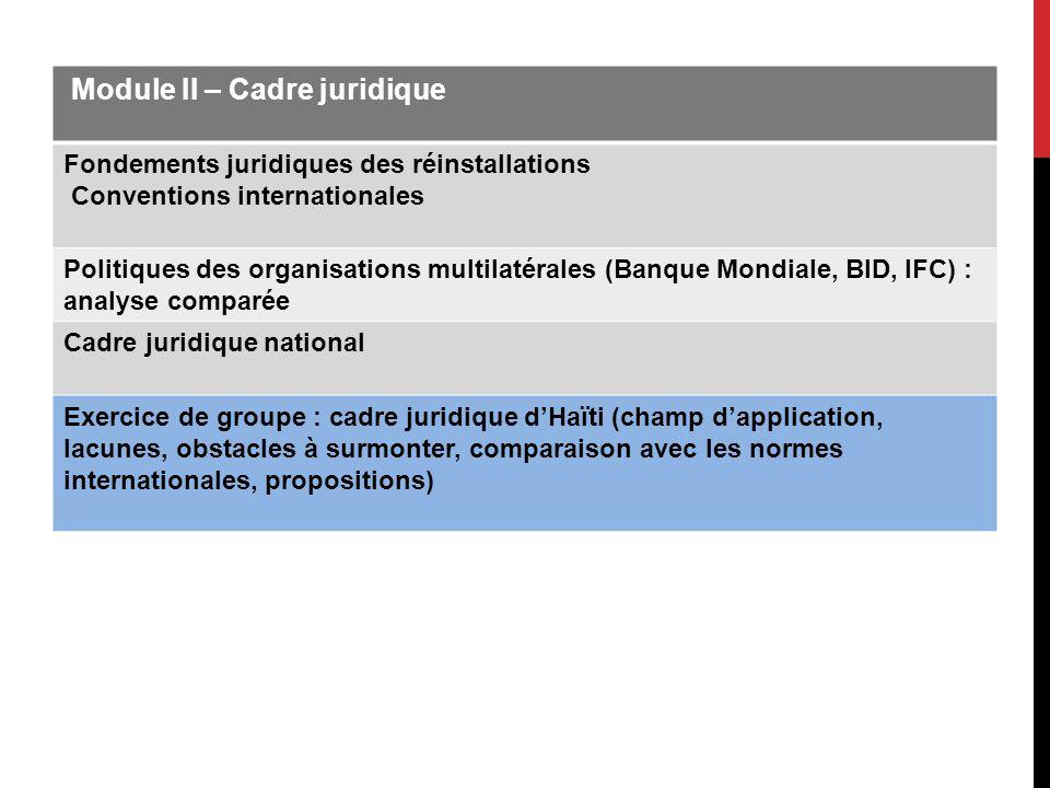 Module II – Cadre juridique Fondements juridiques des réinstallations Conventions internationales Politiques des organisations multilatérales (Banque