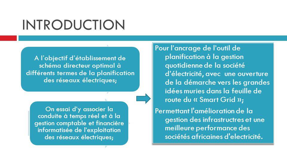 OBJECTIF GÉNÉRAL Procéder à l'intégration des différents systèmes d'information dans la société d'électricité, sous une plateforme logicielle; Ayant pour objectif, une prise en main réelle des flux physiques sur les infrastructures exprimés en unité électrique et monétaire; Pour une planification opérationnelle à temps réel dans le court et le moyen terme; Avec un résultat d'amélioration continue de la gestion, par le moyen de la justification direct et immédiat de l'impact des nouveaux investissements.