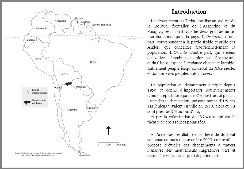 Introduction Le département du Tarija, localisé au sud-est de la Bolivie, frontalier de l'Argentine et du Paraguay, est inscrit dans les deux grandes unités morpho-climatiques du pays.