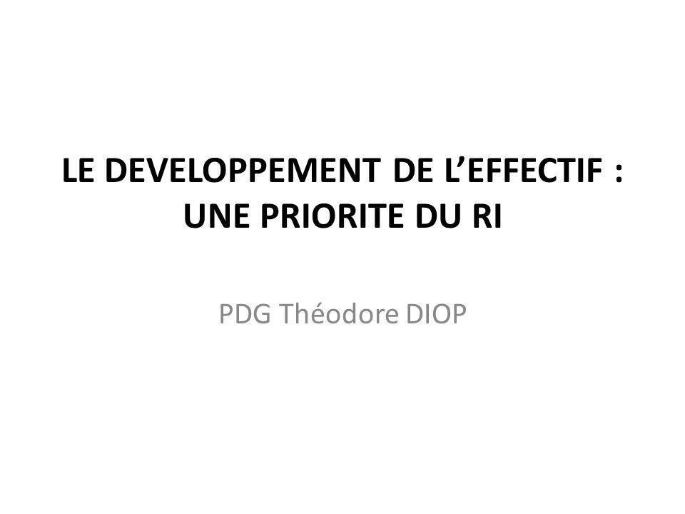 LE DEVELOPPEMENT DE L'EFFECTIF : UNE PRIORITE DU RI PDG Théodore DIOP