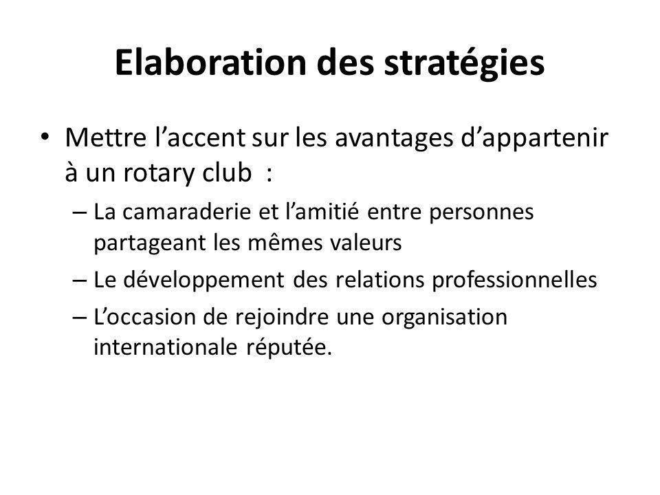 Elaboration des stratégies Mettre l'accent sur les avantages d'appartenir à un rotary club : – La camaraderie et l'amitié entre personnes partageant les mêmes valeurs – Le développement des relations professionnelles – L'occasion de rejoindre une organisation internationale réputée.