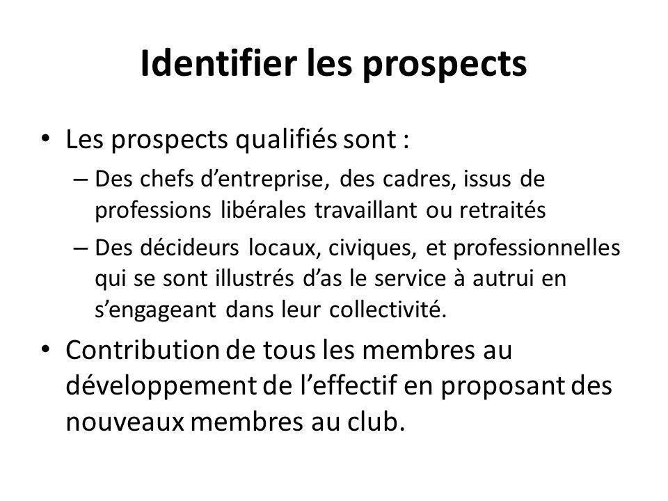 Identifier les prospects Les prospects qualifiés sont : – Des chefs d'entreprise, des cadres, issus de professions libérales travaillant ou retraités – Des décideurs locaux, civiques, et professionnelles qui se sont illustrés d'as le service à autrui en s'engageant dans leur collectivité.